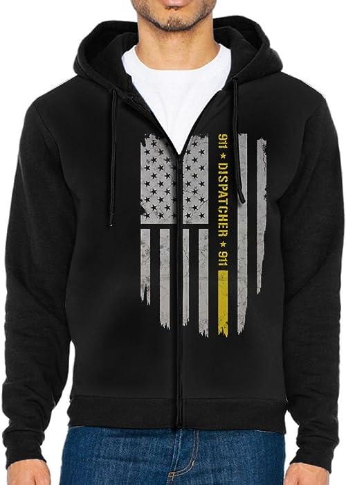 54c89e90 PENN-TNT Mens Zipper Hoodies Pockets Hoodie Coats 911 Dispatcher Thin Gold  Line Front Print