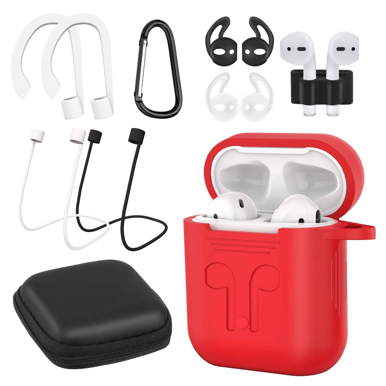 AUNEK - Funda de Silicona para AirPods, 9 en 1, con Enganche, Llavero, Correa, Ganchos para los oídos, Bolsa de Almacenamiento Suave para Apple Airpod