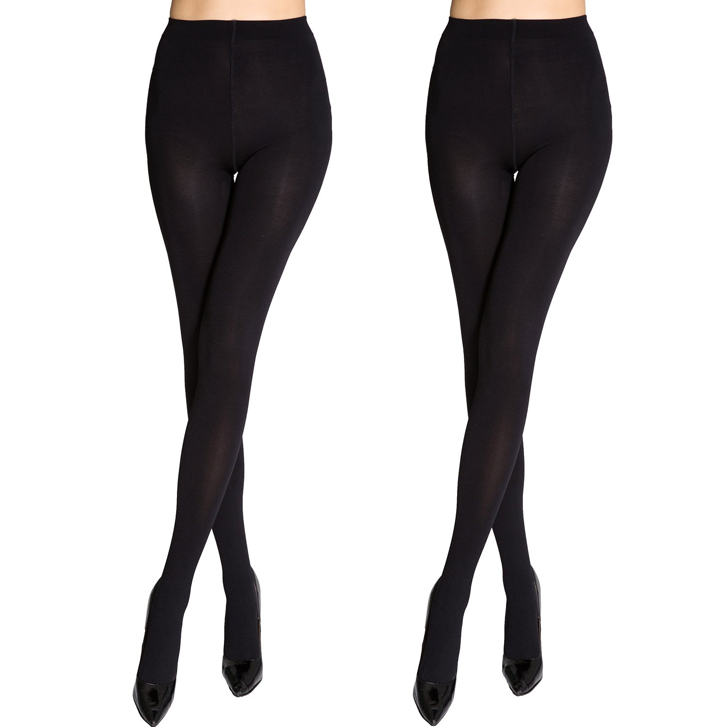 Manzi Lady's Spring and Autumn Black Opaque Superfine Fiber Tights 140 D Size L