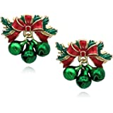 cocojewelry Christmas Red Bow Jingle Bell Post Stud Earrings Jewelry