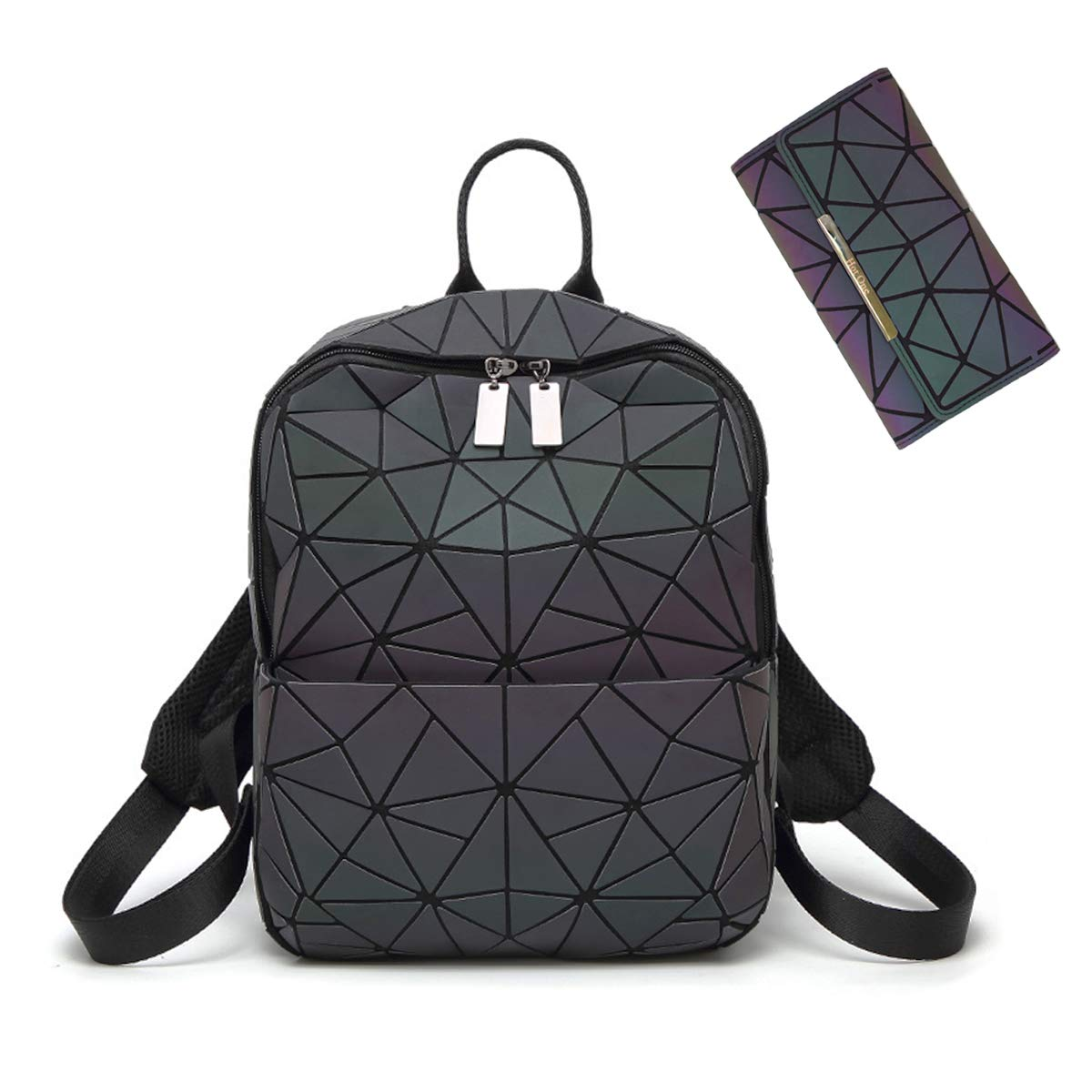 HotOne Geometric Backpack Holographic Reflective Backpacks Fashion Laptop Backpack (No.2 Large Size+Wallet)