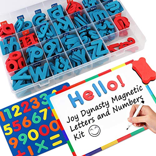 237 Pcs Magnetic Letters and Numbers with Magnetic Board and Storage Box - Uppercase Lowercase Foam Alphabet Letters for Fridge Refrigerator - ABC Magnets for Classroom Kids Learning Spelling - Magnetic Uppercase Alphabet Letters