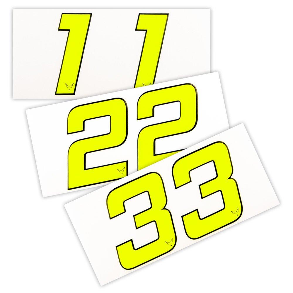 Nummern Startnummer Aufkleber 2er Set # 4 Neon RACEFOXX Zahlen
