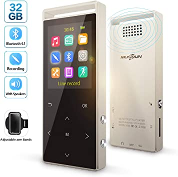 Portable MP3 Bluetooth Music Player with FM Hi-Fi Lossless Support up to 128GB