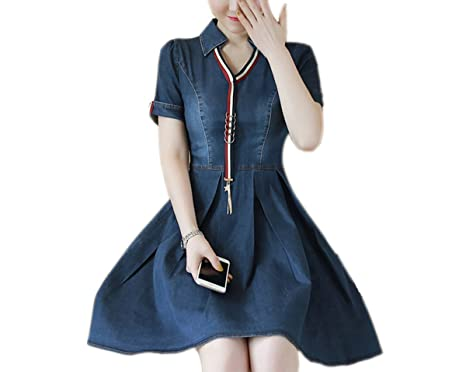 Ao Fer Nema Women Summer Casual Denim Shirt V Neck Sundress Vintage Jeans Dresses Vestidos Blue