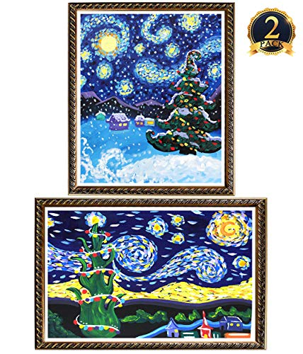 5D Diamond Painting Starry Christmas Tree Full Drill by Number Kits, Ginfonr Embroidery Rhinestone Cross Stitch Great Gift Idea for Adults Kids (12'' x 16'', 2 Pack)