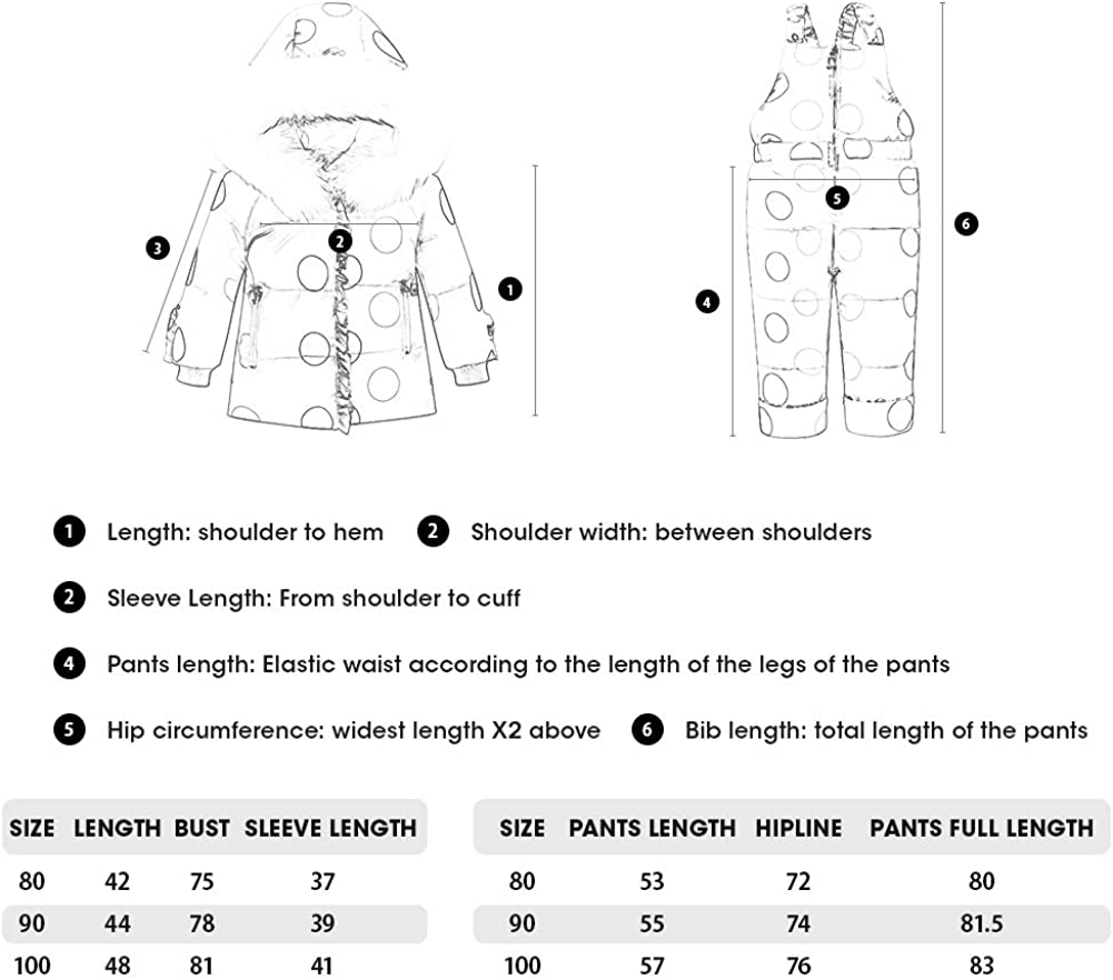 Cute Winter Hooded Puffer Down Jacket Coat with Ski Bib Pants SANMIO Toddler Baby Girls Two Piece Snowsuit