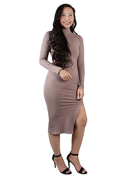 4fd80b1e3868 Anna-Kaci Women's Casual Bodycon Slim Turtleneck Long Sleeve Midi Sweater  Dress at Amazon Women's Clothing store: