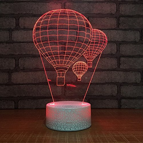 Hot Air Balloon Night Light 3D Visual LED Desk Lamp Fire Balloon Toy Household Home Room Decor 7 Colors Change Touch Table Light Birthday Gift Christmas Gift for Kids and Adult -
