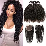 Beauty Forever Malaysian Curly Hair 3 Bundles with Lace Closure Free Part 4x4 Unprocessed Curly Virgin Human Hair Weave Natural Color (20 22 24 +18 Closure)
