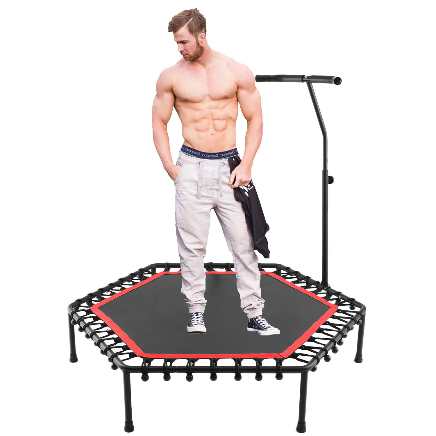 shaofu 50 Silent Rebounders Mini Trampolines Exercise Indoor with Adjustable Handrail for Adults Kids Max 220 lbs