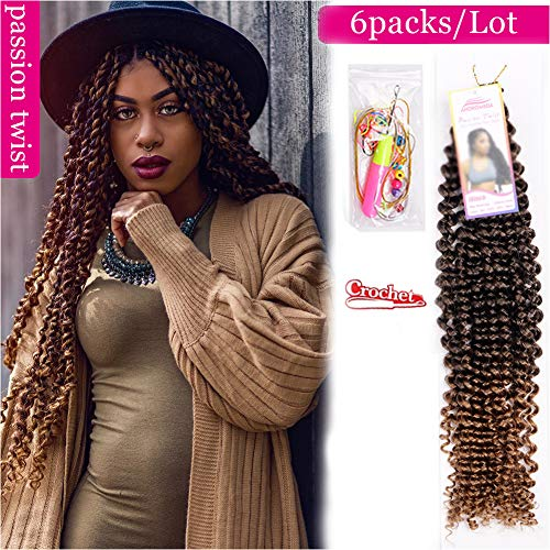 6Pcs Passion Twist Ombre Blonde Synthetic Hair for Black Women Andromeda 18 Inch Soft Long Braids Passion Twist Crochet Braiding Hair Extensions with 5 Free Gift - Crochet Double Strand