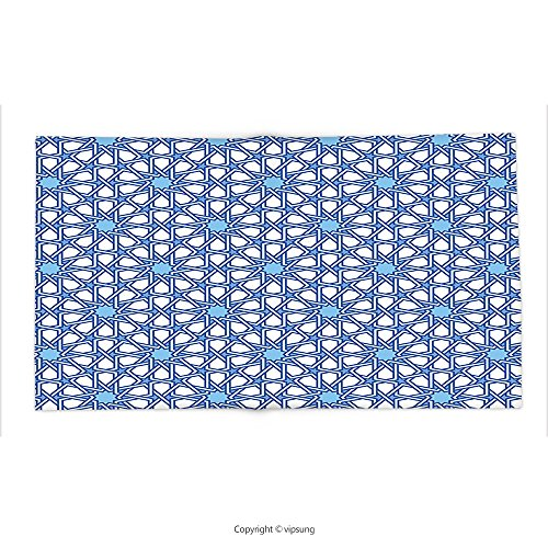 Custom printed Throw Blanket with Arabian Decor Collection Traditional Moorish Turkish Tangled Pattern and Geometric Lines Mosque Islamic Art Print Blue White Super soft and Cozy Fleece Blanket by vipsung
