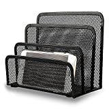 Desk File Organizer, Anumit Mail Organizer Small Letter Sorter Desktop Paper Organizer Metal Mesh with 3 Vertical Upright Compartments