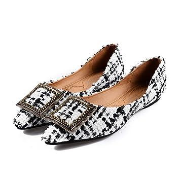 WULIFANG Multi Touch Gamuza Sugerencia Taladro Hueco Superficial Puerto Baotou Diamond Abalorios Embellecedor Metálico Zapatos De Mujer 44 Color ...