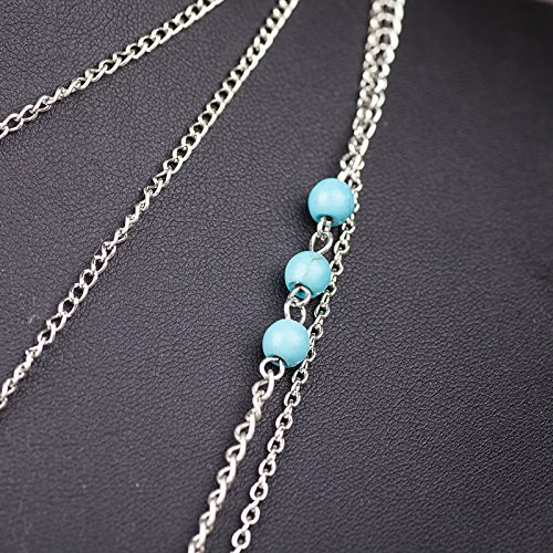 Boosic Multi-layer Leaf Feather Pendant Necklace Turquoise Bohemian Necklace For Women