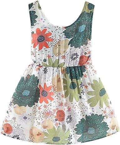 AIni Vestido De NiñA Vestido Casual De Algodon Vestido De Princesa Estampado Bohemio Vestidos De Playa