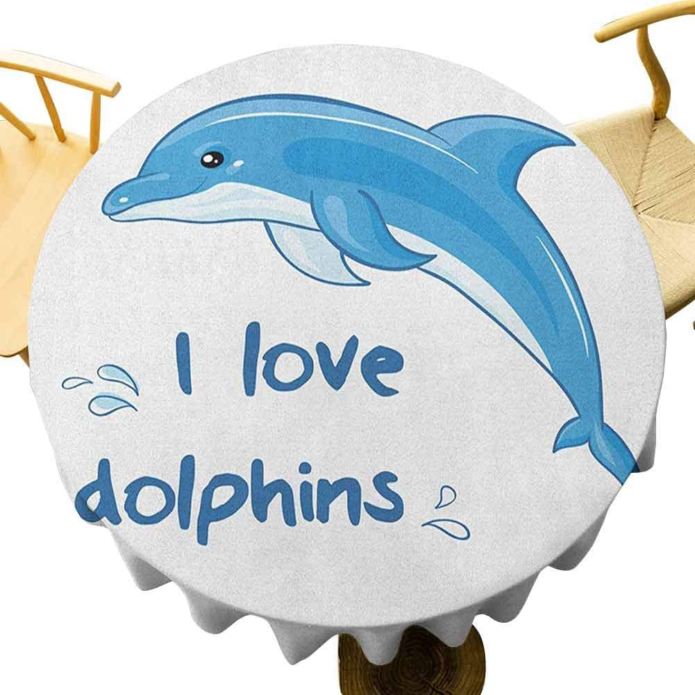 Dolphin Tablecloth 35 Inch Round Tablecloth Home Cartoon Style Ocean Animal With I Love Dolphins Quote And Water Splashes Image Suitable For Kitchen Blue White Home Kitchen