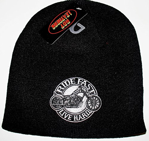 Hot Leathers Embroidered Ride Fast Live Hard Motorcycle Chopper Biker White Over Black Winter Beanie Cap