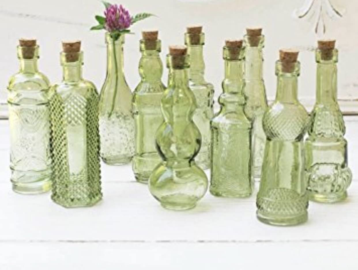 Amazon Com Vintage Glass Bottles With Corks Bud Vases Assorted Shapes 5 Inch Tall Mini Vases Set Of 10 Bottles Green Home Kitchen