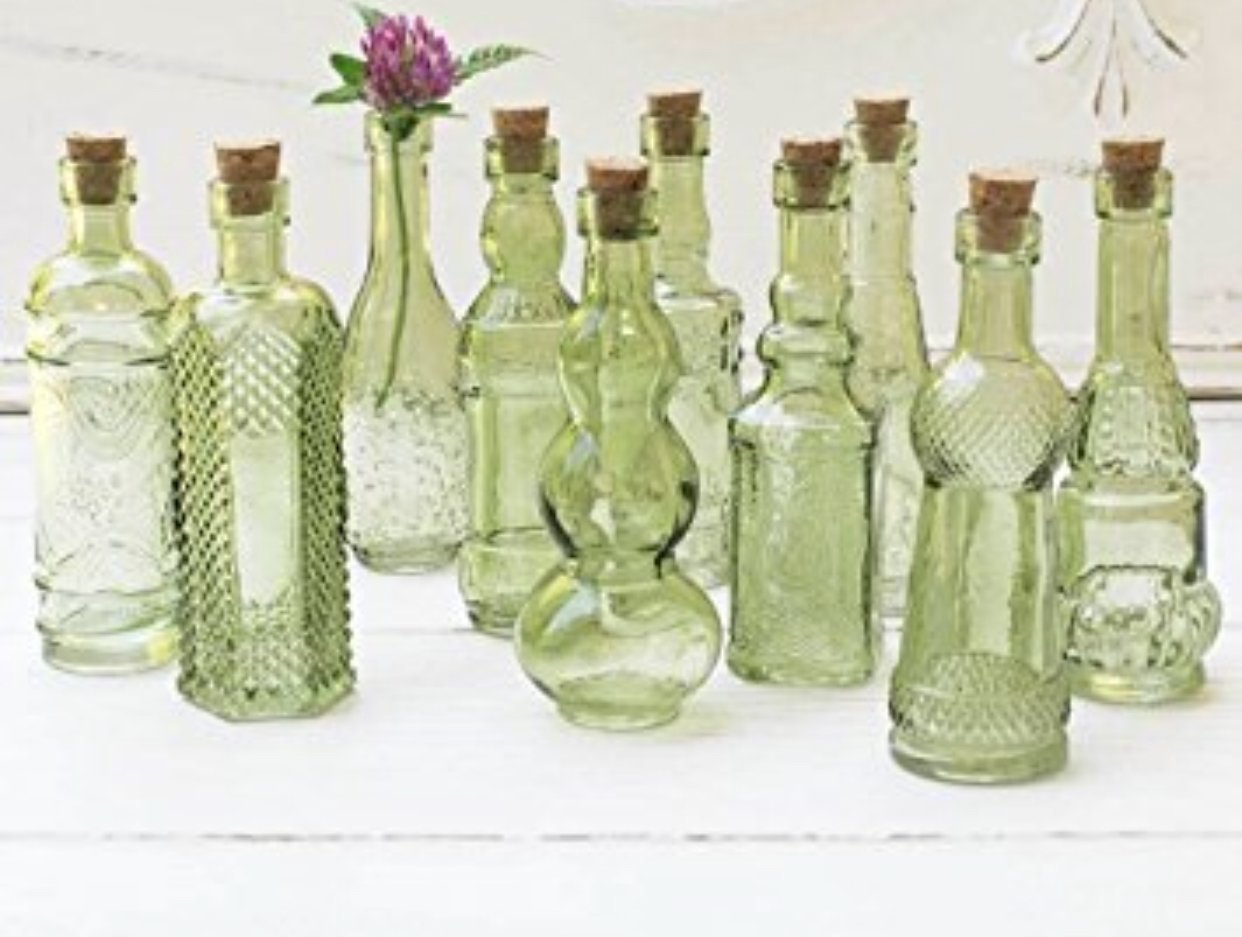 Vintage Glass Bottles with Corks, Bud Vases, Assorted Shapes, 5 Inch Tall, Mini Vases, Set of 10 Bottles, (Green)