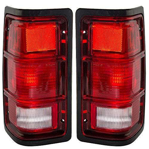 Truck Dodge Ramcharger (Driver and Passenger Taillights Tail Lamps with Black Bezels Replacement for Dodge Pickup Truck SUV 55076439 55076438)