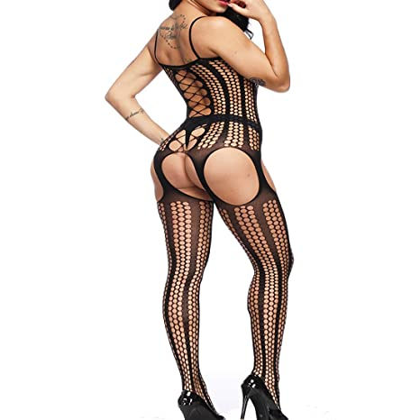c929390bdb9 Amazon.com  BECHARNY Crotchless Bodystocking - Sexy Fishnet Open Crotch  Bodysuit Tights Lingerie  Clothing