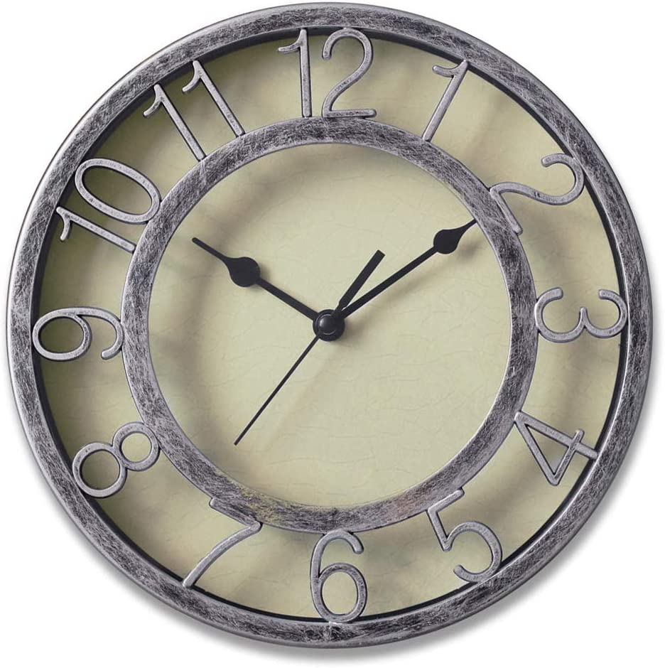 "8"" Silver Silent Wall Clock Non-ticking Wall Clock Round Ready to Hang Decor Wall Clock With Plastic Bezel"