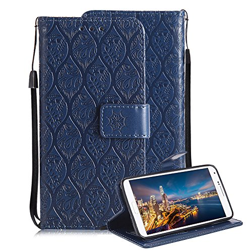Price comparison product image For Samsung Galaxy Note 4 Case, Aearl 4D Embossed Rattan Flower Pattern PU Leather Wallet Stand Flip Case with Card Slots Holder Wrist Strap Free Screen Protector for Samsung Galaxy Note 4 - Dark Blue