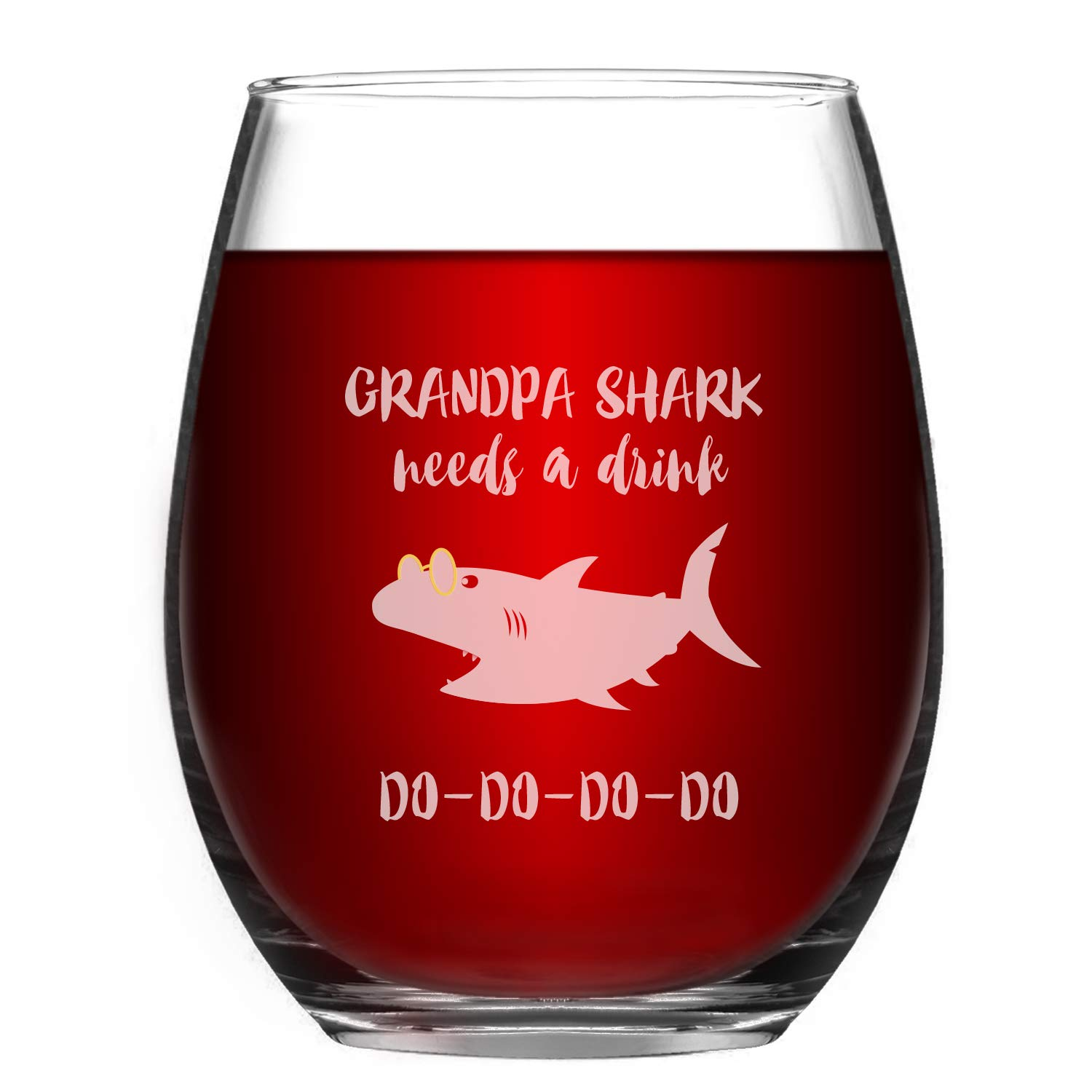 Grandpa Wine Glass Grandpa Shark Needs a Drink Do Do Novelty Wine Glass for men with Sayings Funny Stemless Wine Glass Funny Shark Gifts & Cup Accessories for Shark Lovers Grandpa FIL Dad Father's Day
