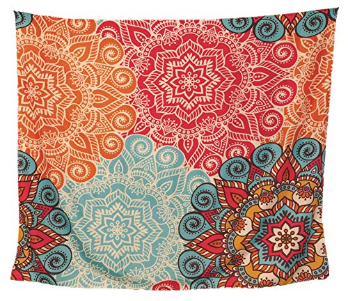 BLACK ACORN Colorful Mandala Tapestry - Bright Bohemian Hippie Wall Hanging for Home Decor - Pink Orange Blue Wall Art Tapestry for Bedroom Living Room Dorm (59