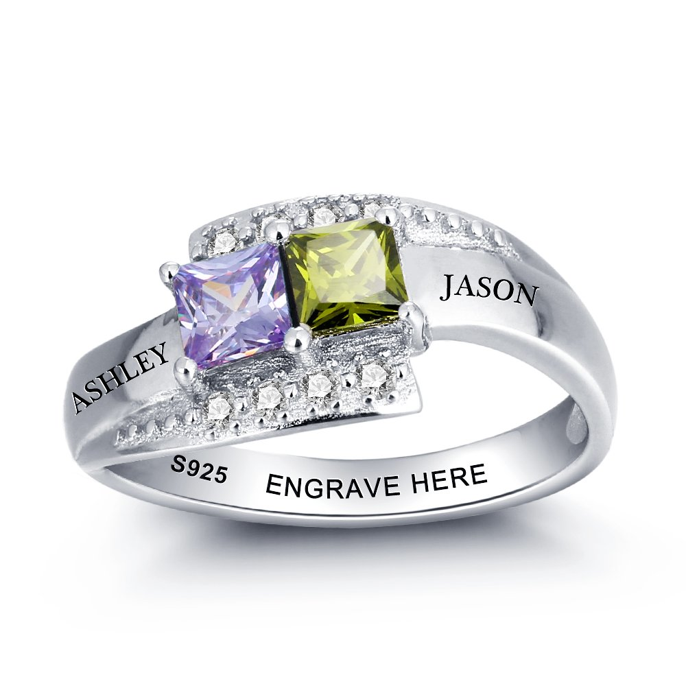 Love Jewelry Personalized Engagement Promise Ring for Her with 2 Simulated Birthstone Rings 2 Names for Couples (10)