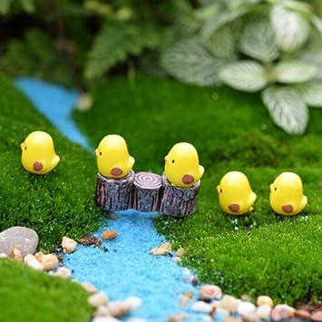 Yellow Crafts Fairy Garden Christmas Figurines Miniatures Duck Micro Landscape