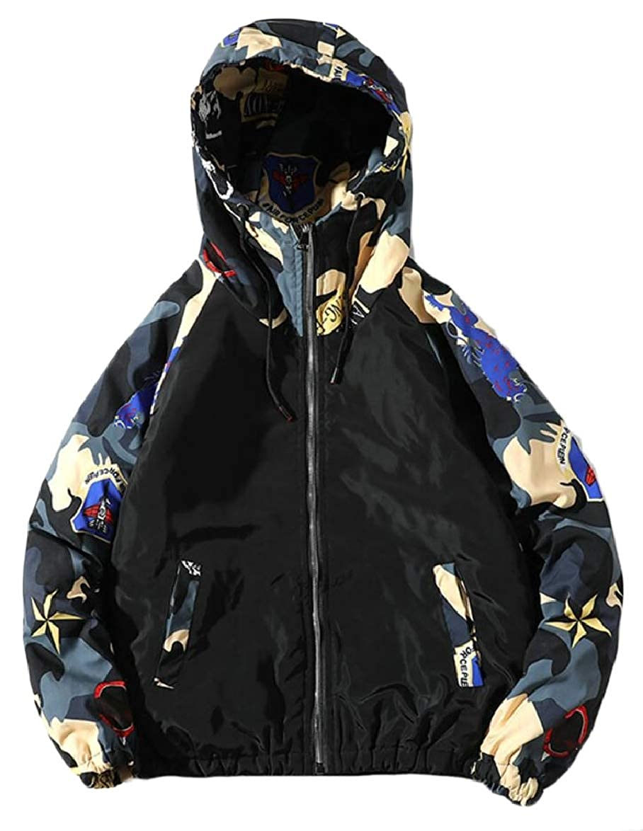 ouxiuli Mens Hipster Hoodies Camo Quilted Loose Fit Oversize Down Jacket Coat