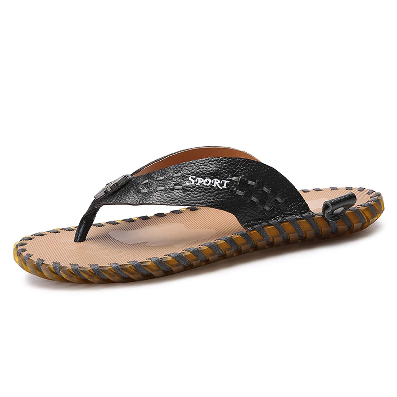 901hei Men's Flip Flops Genuine Leather Luxury Slippers Beach Sandals Summer for Men shoes