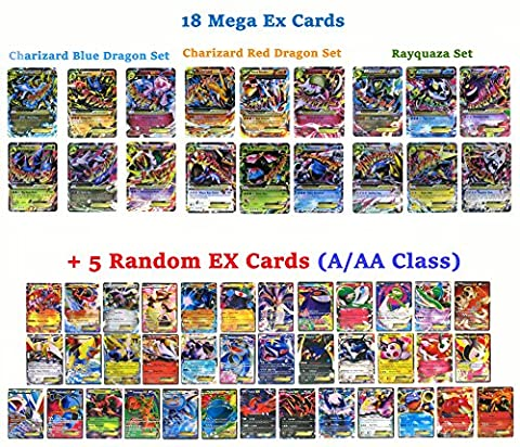 Set of 18 Mega EX Cards 2 X Charizard Rayquaza Gengar...etc + 5 EX Cards (A/AA Class Random)