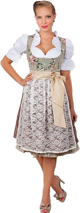 Sand and Olive DIRNDL Dress Sleeveless Midi Dress Austrian Alpen Dress Embroidered Pinafore Dress \u2022 Size Medium to Large  \u2022
