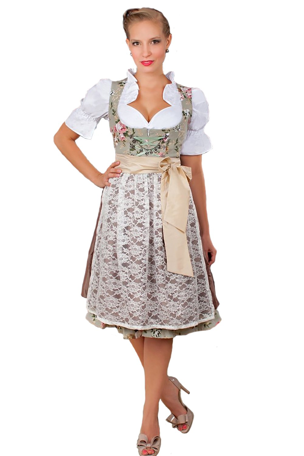 2-Piece Dirndl Dress Authentic Bavarian Floral Exlusive,Green, GE42/ US12