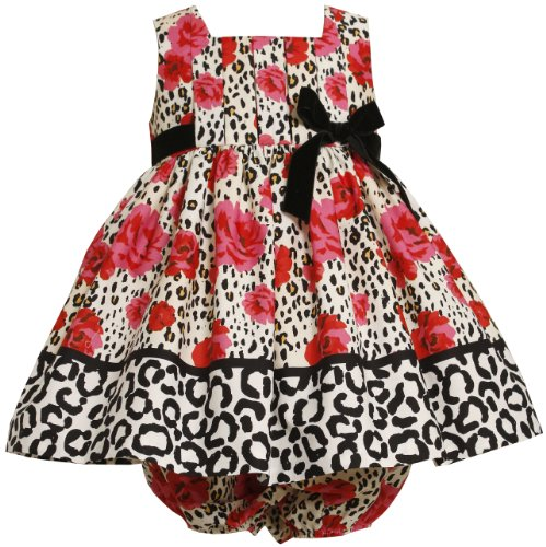 Bonnie Baby Baby-Girls Newborn Pleated Bodice Empire Waist Dress With Roses Print, Red, 3-6 Months
