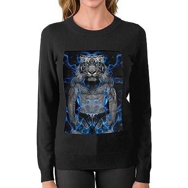 Wqyu Womens Blue Fire Tiger Wallpaper Fashion Sweater Boyfriend