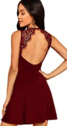 f3e4b61c09 SheIn Women's Sleeveless Lace Applique Cocktail Backless Party Flare Mini  Dress