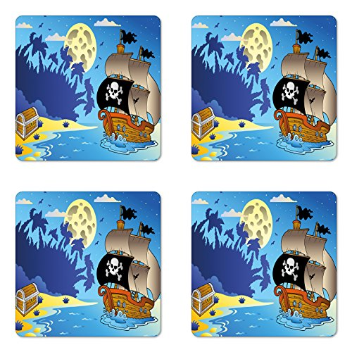 Midnight Accent Chest - Lunarable Pirate Coaster Set of Four, Buccaneer Adventure Antique Ship Deserted Tropical Island Chest Midnight Filibuster, Square Hardboard Gloss Coasters for Drinks, Multicolor