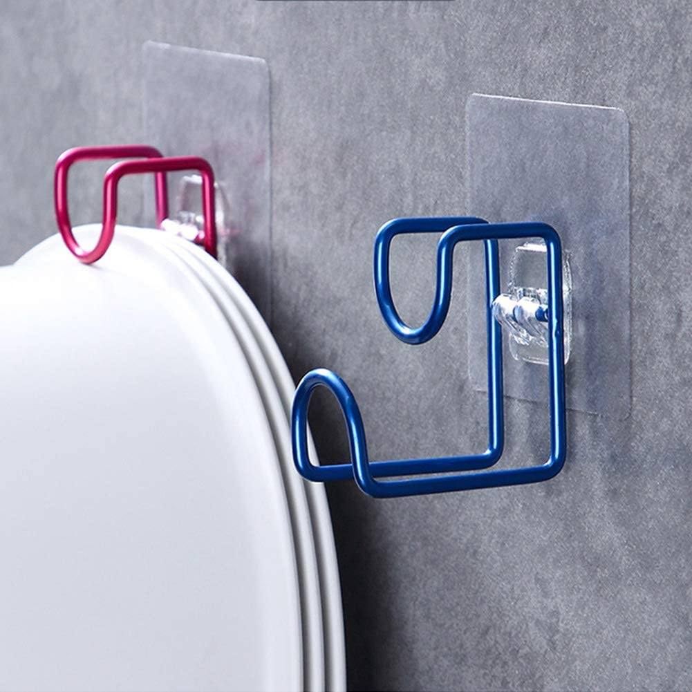 Multifunctional Self Adhesive Hook, Heavy Duty Wall Hook for Back of Door Kitchen Bathroom Office Cabinet, Iron Hanging Rack Washbasin Stand (Silver) Blue