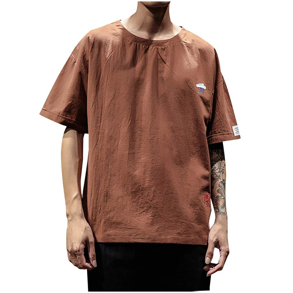 Men's Casual Loose-Fit Cotton Linen Short-Sleeve Crewneck T-Shirts Big & Tall Tee Coffee by Jhualeek