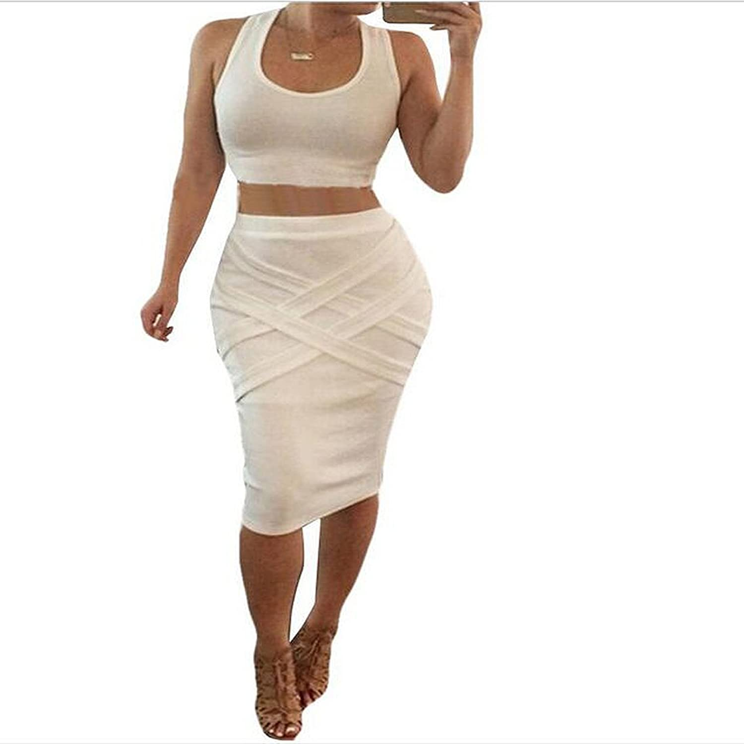 Donau Womens Crop Top Midi Skirt Outfit Two Piece Bodycon Bandage Dresses