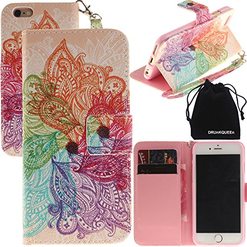 iPhone 6s Case, iPhone 6 Case, DRUnKQUEEn Wallet Purse Type Leather Credit Cards Case with Cellphone Holder Flip Cover for Apple iPhone6s iPhone6 - Hand Strap Included