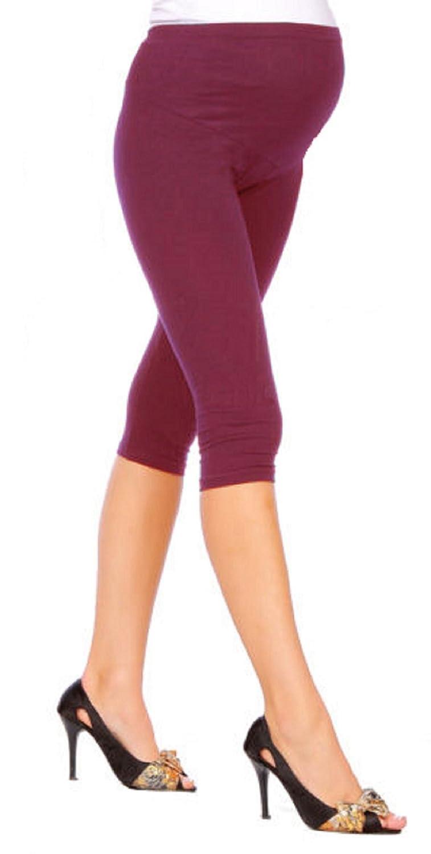 Hot Hanger Womens 3/4 Length Maternity Over Bump Cotton Leggings