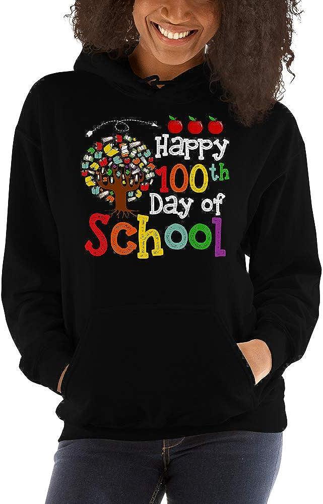 TEEPOMY Happy 100th Day of School Book Tree Teacher Student Kids Unisex Hoodie
