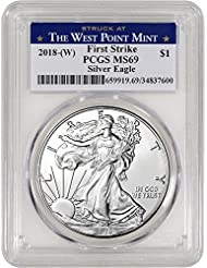 2018 (W) American Silver Eagle (1 oz) First Strike West Point Label $1 MS69 PCGS