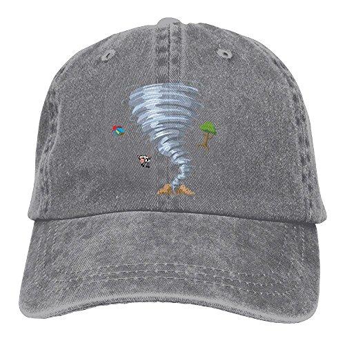 Denim Baseball Cap Tornado Design Summer Hat Adjustable Cotton Sport (Ball Tornado Buckle)